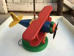 RARE Vintage Bi Airplane Lamp Wood Wooden Spin Propeller Childrens Bedroom Decor $203.06