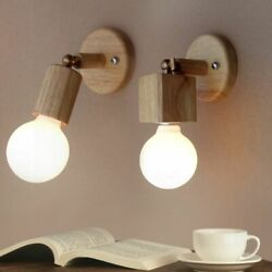 Wood Wall Lamps Modern Solid Creative Living Room Bedroom Bedside Balcony Lights $26.59