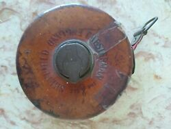 Vintage Leather Cloth 50ft Tape Measure Chesterman Sheffield England Brass