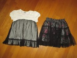 Girls D-Signed: Embellished Black Ruffle Shirt & Pink Floral Netting Skirt 10-12