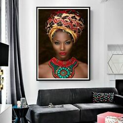 Beauty Girl Art African Woman Oil Painting Canvas Poster Wall Living Pictures $30.08