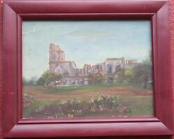 Small Antique Old Oil Painting a Visit to Rome Colosseum $30.00