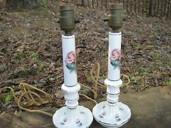 1930s Antique vintage Lamps White porcelain roses candlestick bedroom shabby $60.00