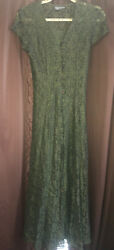 All That Jazz Vintage Army Green Sheer Lace Overlay 90s Tie Back Button Maxi 7 8 $55.00