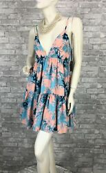 Lovers + Friends New w Tags Runway Auth Pink Blue Sun Dress Lined 4 US 40 IT S