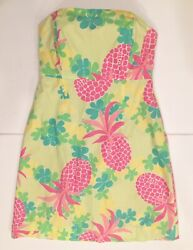 Lilly Pulitzer Size 8 Yellow Strapless Sun Dress Pink Pineapple Green GUC