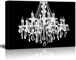wall26 Canvas Wll Art Crystal White Chandelier on Black Background $35.19