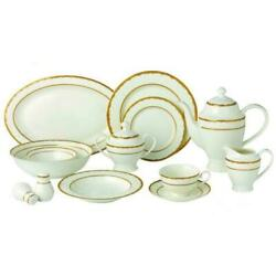 57-Piece Gold Dinnerware Set-New Bone China Service for 8-People-Sonia $322.99