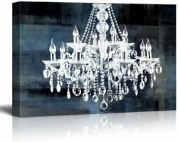 wall26 Canvas Art Crystal White Chandelier on Blue Abstract Vintage Background $79.19