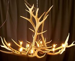 HUGE 7' REAL ELK CHANDELIER TROPHY SIZE ANTLER GREAT ROOM LIGHT CHIC 350 bull