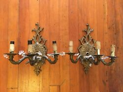 Vintage Brass Walk Sconce Pair Lamps Lights Hollywood Rococo Chandelier $200.00
