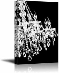 wall26 Canvas Wll Art Crystal White Chandelier on Black Background $28.59