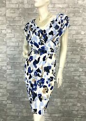Escada New Blue White Stretch Floral Dress 4 US 40 IT S Lined Ruched Runway Auth