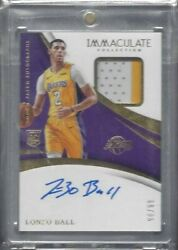 LONZO BALL 2017 18 IMMACULATE RPA 2 COLOR ROOKIE PATCH AUTO RC #D 98 99