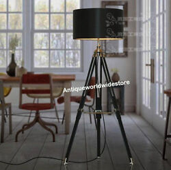 Nautical Black Wooden Tripod Floor Shade Lamp Home Decor $120.00