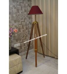 Antique Floor Shade Lamp Brown Wooden Tripod Stand Home Decor $89.00