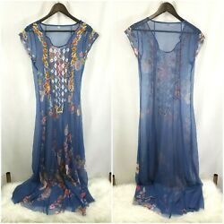 Womens Sheer Bohemian Dress Size M Blue Embroidered Floral Cap Sleeve Festival $35.00