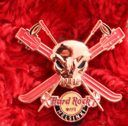 Hard Rock Cafe Pin HELSINKI 3D SKULL Cross Ski pole LE150 Copper Pirate Guitar $26.99
