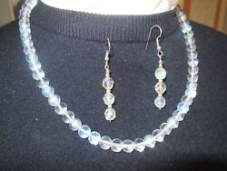 Vintage Crystal necklace amp; Earring Set Iridescent beads 20.5quot; $32.50