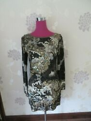 Stunning  All Saints Oyster Sequin Dress Black Size 8 Excellent Condition $212.66