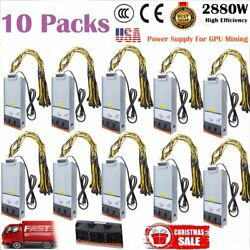 10x 2880W Power Supply Mining for Antminer Two X2 Video Card w Harness Cable BT $545.95