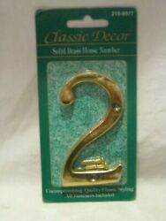Classic Decor Solid Brass House Number 2 # hardware w screw fasteners $5.00