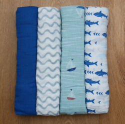 Aden Anais Baby Boy Swaddle Blanket Waves Sailboat Sharks Pick 1 $11.97