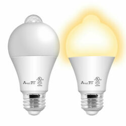 Motion Sensor Light Bulb UL Listed 10W (80W Equivalent) LED Light Bulbs 2 Pack $11.99