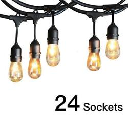 Commercial Weatherproof 48#x27; FT Outdoor String Lights 24 Bulbs Party Patio Lights