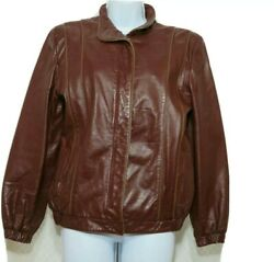 Opera Leather Zip Up Ladies Jacket Burgundy Size Medium 7 8 $33.00