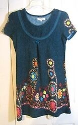 RUNWAY COLLECTION Teal Floral Print Dress Sz Small