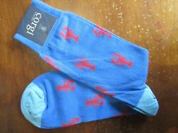 NEW Corgi Lightweight Cotton MENS Large Socks Wales Royal Blue LOBSTERS RED $21.99