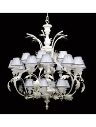 Chandelier White Wood And Leaf Silver With Shades Tp 190-LA-24-13