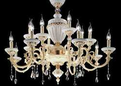 Chandelier Classic Gold Brass Crystal Design Hanging CIC-ELAIDE-541oz