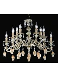 Chandelier Brass Glass Of Murano And Crystal Tp TULIPANI-133-LA-5+5-03