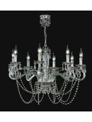 Chandelier Crystal Of Swarovski Crystal And Brass Leaf Silver Tp 164-LA-8-25