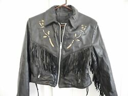 Steer Brand Women's Leather Motorcycle Biker Jacket Fringed Sz 12 Made in USA