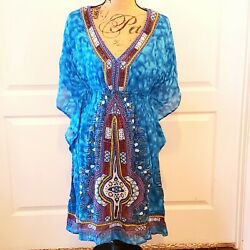 Lapogee Bohemian Dress XL Short Caftan Style Lined Rayon Tribal Made in India $29.99