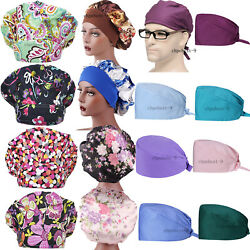Surgical Caps Adjustable Scrub Cap Sweatband Bouffant Beanies Knit Hats Unisex  $7.99