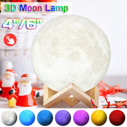 3D Printing Moon Lamp Moonlight USB LED Night Lunar Light Touch Color Changing