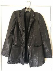 STUNNING WOMENS ALL SAINTS LEATHER VINTAGE BLAZER JACKET $65.00