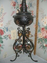 Ornate 1890 Bradley amp; Hubbard Iron amp; Brass Banquet Parlor Lamp Victorian Antique $185.00
