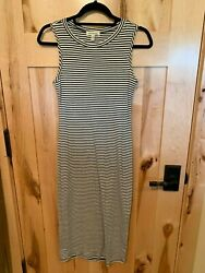 Monteau Los Angeles Cream Black Sleeves Striped Knit Dress Stretchy S Small