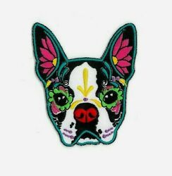 Cali#x27;s BOSTON TERRIER Dog 2 3 4quot; x 3 1 8quot; iron on patch Y569 #7 $8.59