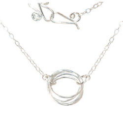 Hammered Multi Circles Necklaces Sterling Silver 14 Gold fill USA Handcrafted $88.00