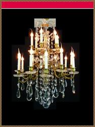 Baccarat Antique Brass Bronze Crystals French WIred Chandelier 18 Light Rare!!