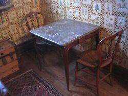 Antique French Table And Two Chairs Hand Carved Walnut Marble Top $1499.00