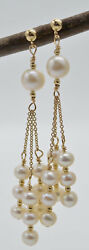 New 14K Solid Gold Cultured Natural White Pearl Chandelier Earrings $89.89