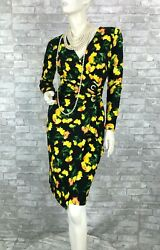 Escada New Black Yellow Floral Stretch Dress 4 US 34 D 40 IT S Lined Runway Auth