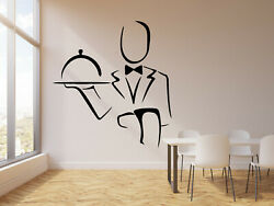 Vinyl Wall Decal Abstract Waiter Cafe Restaurant Kitchen Decor Stickers g2974 $19.99